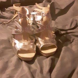 Cream & silver colored strappy heels